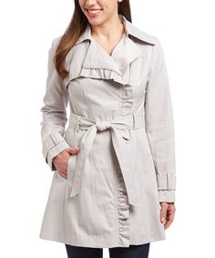 Look what I found on #zulily! Silver Ruffle-Trim Trench Coat #zulilyfinds