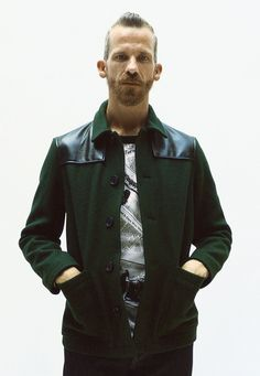 Leather trim on green peacoat @Supreme