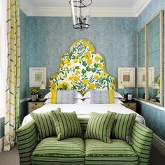 Indian Home Decor Summer colours - green yellow and blue come together beautifully in this bedroom at the CoventGardenHotel London Featuring Kit Kemp # Home Decor Styles, Cheap Home Decor, Bedroom Colors, Bedroom Decor, Colourful Bedroom, Headboard Decor, Headboards, Casa Milano, Blue And Green
