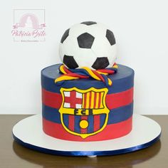 Bolo Futebol Barcelona Pastel Del Barcelona, Bolo Do Barcelona, Football Birthday Cake, Soccer Birthday Parties, Cake For Boyfriend, Soccer Cake, Cake Decorating With Fondant, Sport Cakes, Cakes For Boys