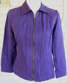 Coldwater Creek Denim Jacket Purple Full Zip 100% Cotton Floral Size P6 #ColdwaterCreek #JeanJacket #Casual