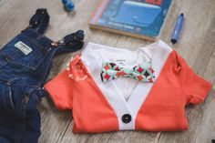 Baby Boy Cardigan Onesie and Bow Tie Set Red |  Coming Home Outfit  |  Izzy & Isla  |  OOTD  |  Kids Trendy Apparel  |  Bow Tie Set  |  Boys Fashion  |  Baby Shower Gifts |  Broncos |  Orange and Navy  |  Rust | First Birthday Outfit