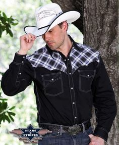 Corbeto's Boots | 50-MADDOX | Camisa western Stars & Stripes para hombre combinado negro con cuadros grises | Stars & Stripes mens grey plaid and black cloth western shirt.