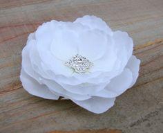 White Bridal Flower Hair Clip Wedding by EnchantedlyYours on Etsy  Flower Fascinator Hair Pin