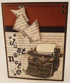 """Cute card made with """"Vintage Typewriter"""" set from Stampendous."""