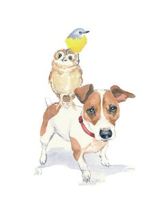 Jack Russell Watercolor Owl Watercolor Bird by WaterInMyPaint, $40.00