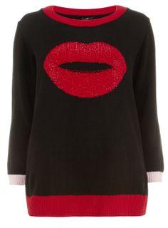 Evans Black Lip Motif Embellished Jumper - {Made in the UK by Evans} > www.evans.co.uk
