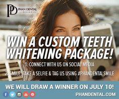 SEND US YOUR SELFIE!!! To be entered to win a custom teeth whitening package! #PhanDentalSmile #Yeg