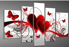 Santin Art - Hand-painted Free Shipping Wood Framed Oil Wall Art Red Flower Love Butterfly Home Decoration Abstract Landscape Oil Painting on Canvas 5pcs/set Santin Art,http://www.amazon.com/dp/B008EF5JSG/ref=cm_sw_r_pi_dp_7whitb1R00V1YX9S