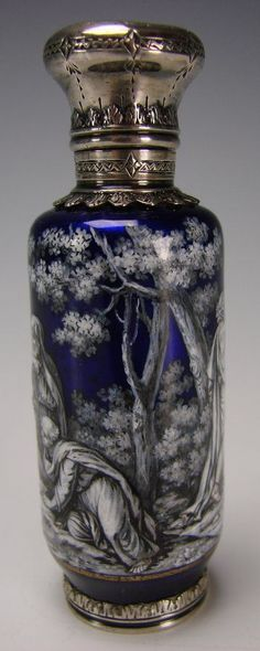 Antique French Limoges Enamel Perfume Bottle