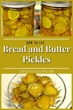 Bread and Butter Pickles / The Grateful Girl Cooks! Learn how to make traditional Bread and Butter Pickles, (perfect topping for burgers, sandwiches or just for snacking), and can the jars, for long term storage! Homemade Bread And Butter Pickles Recipe, Bread And Butter Pickle Canning Recipe, Bread & Butter Pickles, Homemade Pickles, Home Canning Recipes, Cooking Recipes, Healthy Recipes, Canning Tips, Canning Pickles