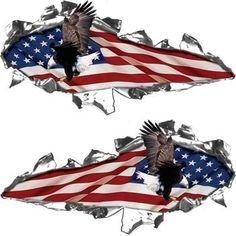 Semi Truck Side Decals American USA Flag Tear Boat Trailer Vinyl - Boat decalsamerican flag boat decals usa flag boat graphics xtreme digital
