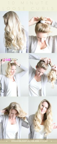 Get the perfect curls in under 10 minutes with this trick! Gorgeous loose, wavy curls are the perfect romantic hairstyle for everyday or a date night, but you don't need to take hours to do your hair. Instead try this trick and check out the step by step tutorial to get the perfect mermaid hairdo in less than 10 minutes!  www.blissfullybubbly.com