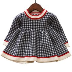f8c4719c8ffb Baby Girl Dress Sweater Clothes for Infant Toddler Kids Girls Autumn Winter  Knitted Cotton Dressing Plaid