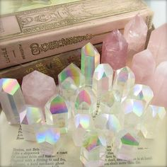 I've been unpacking a lot of really special aura crystals this week! There is something about the ethereal colours in angel aura that… Crystal Room, Crystal Magic, Rose Quartz Crystal, Crystal Healing, Angel Aura Quartz, Crystals And Gemstones, Stones And Crystals, Crystal Aesthetic, Rainbow Aesthetic