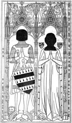 """auf seinem auf 1344 datierten Grabmal in der Church of St Mary Madeleine trägt Henri Briart einen Nierendolch mit schon etwas deutlicher ausgeformten """"nieren""""."""