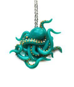 Handgemachte Teal und Gold realistische Octopus von JumpingJellys