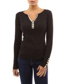Black Long Sleeve Buttons Slim V Neck T-Shirt