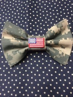 Camo Bow with flag Charm by AnAnchorOfLove on Etsy