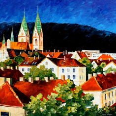 0822 Germany-Freiburg - Palette Knife Oil Painting On Canvas By Leonid Afremov Print by Leonid Afremov Seascape Paintings, Oil Painting On Canvas, Knife Painting, Art Paintings, Painting Art, Palette Knife, Modern Wall Art, Surreal Art, New Art
