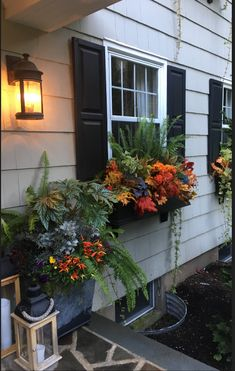 Fall Love round - The Enchanted Home Outdoor Pots, Outdoor Gardens, Outdoor Living, Outdoor Decor, Fall Window Boxes, Window Box Flowers, Flower Boxes, Window Planters, Fall Planters