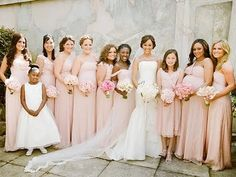 bridesmaid dresses color scheme. blush pink does look great on every skin tone!