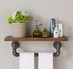 Industrial Wood and Metal Floating Wall Shelf