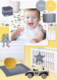 Babyzimmer mit Autos in grau & gelb