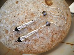 Jet Black and Smokey Quartz Silver Spiral Dangle Earrings by Beads4You2008 on Etsy https://www.etsy.com/listing/239712532/jet-black-and-smokey-quartz-silver