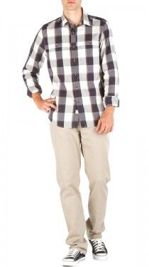 love large black and white plaid on boys.