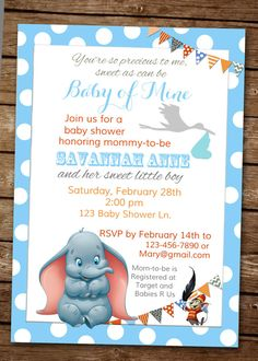 Dumbo Baby of Mine Shower Invitation by elenasshop on Etsy