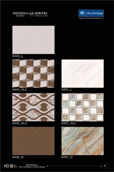 The #art of designing & manufacturing tile #pattern is a skill we have perfected.  Wall Tile #Patterns 4440 & 4441 - Millennium Tiles 300x450mm (12x18) Digital #Ceramic High Definition Glossy Wall #Tiles Series. The matching floor tiles are available in 300x300mm (12x12) in the dark colours (D) - 4440_L - 4440_HL2 - 4440_HL3 - 4440_D - 4441_L - 4441_HL1 - 4410_D