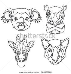 Geometric vector set of koala, hippo, puma, giraffe vector animal heads drawn in…