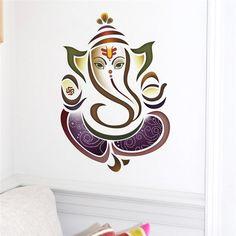 Wall Decals Ganesh Elephant Yoga Studio Wall Stickers Home Decor Vinyl Sticker Bedroom Living room Decoration Ganesha Drawing, Lord Ganesha Paintings, Ganesha Tattoo, Wall Stickers Home Decor, Wall Decals, Arte Ganesha, Ganesh Wallpaper, Glass Painting Designs, Ganesh Images
