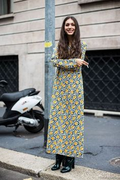 """floral maxi dress with ankle boots = the perfect way to do """"girly"""" without frills and fuss. Found a few on ASOS here (click link)"""