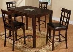 Pub table with crackle glass insert and 5 matching barstools