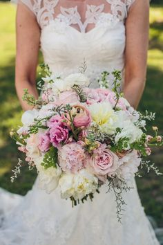 Beautiful and feminine bouquet of peonies, roses, ranunculuses, lisianthus, limonium and bupleurum {@richardbell}