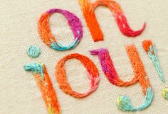 I love to paint letters this way, now I need to learn how to embroider them with multiple, blended tones!  Love it