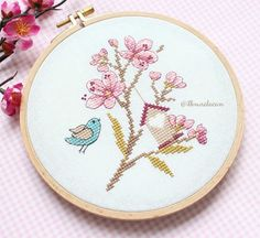 Fotoğraf açıklaması yok. Cross Stitching, Embroidery Patterns, Bird, Creative, Crafts, Lovely Things, Instagram, Manual, Health