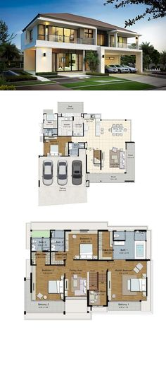 All Time Modern House Designs – My Life Spot Minimalist House Design, Minimalist Home, Modern House Design, Dream House Plans, Modern House Plans, House Floor Plans, House Blueprints, Facade House, Home Design Plans