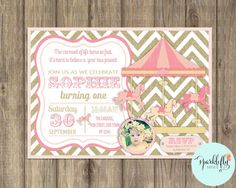 Carousel Birthday Invitation Carnival Invitation Printable Pink Gold Glitter by Sparklefly Paperie