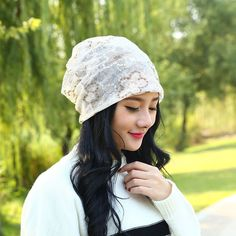 Lady Lace Hat Mesh Floral Embroidered Summer Wrap Beanie Turban Chemo Exotic Cap #Unbranded #Beanie #Casual