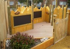 Little play area with chalk boards good to develop children literacy skills through play. Fencing idea for kid area Natural Play Spaces, Outdoor Play Spaces, Kids Outdoor Play, Backyard Play, Kids Play Area, Outdoor Learning, Outdoor Areas, Outdoor Fun, Natural Playground