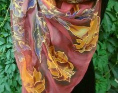 Natural silk shawl floralorchid blackdark green by Studijakalla
