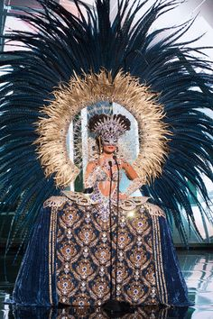 Claudia Barrionuevo, Miss Argentina 2015 debuts her National Costume on stage at the 2015 Miss Universe Pagaent on December 2015 in Las Vegas. Picture: HO/The Miss Universe Organization Miss Universe Costumes, Miss Universe National Costume, Mardi Gras Costumes, Burlesque Costumes, Showgirl Costume, Festival Costumes, Festival Dress, Samba, Brazilian Carnival Costumes