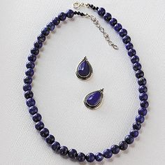 Lapis and Silver Necklace and Earrings