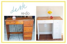 "Sharing how I made this ""ugly"" desk look like new with the desk re-do makeover."