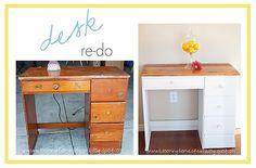 DIY desk redo www.bloominghomes… DIY desk redo www. Hutch Makeover, Furniture Makeover, Diy Furniture, Furniture Vintage, Furniture Design, Furniture Refinishing, Furniture Projects, Desk Redo, Diy Desk