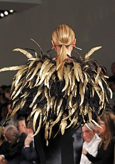 Ralph Lauren FW 2012 Black and Gold Feathers Couture