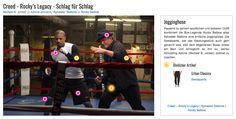 Passend zu seinem sportlichen und lockeren Outfit kombiniert die Box-Legende Rocky Balboa alias Sylvester Stallone eine einfache Jogginghose. Die Sweatpants, wie das Kleidungsstück auch gern genannt wird, sitzt dem altgedienten Boxer locker am Bein und ermöglicht es ihm so, seinen Schützling Adonis (Michael B. Jordan) optimal zu coachen.